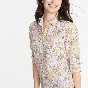NWOT Old Navy floral relaxed cotton button-up